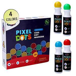 Artfelo Washable Dot Markers for Toddlers And Kids - Easy Grip, Perfect Pack of 4 Bingo Daubers For Kids, Arts and Crafts Supplies For Toddlers
