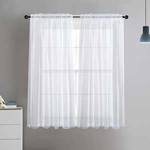 "Dreaming Casa Solid Sheer Curtains Living Room White Rod Pocket Voile Draperies Window Treatment 60"" W x 45"" L 2 Panels"