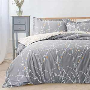 BEDSURE Duvet Cover Sets Double - Branch Pattern Microfiber Bedding Sets 3 pcs with Zipper Closure, Grey & Ivory, 200x200cm