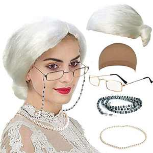 Old Lady Costume Characters Set - Old Lady/Mrs. Santa Wig, Madea Granny Glasses, Eyeglass Chains Holder and Cords Strap,FauxPearl Beads Choker Necklaces (Style-3)