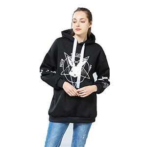 BSTANG Autumn Lace Up Hoodies Cartoon Rabbit Pentacle Print Sweatshirt Kawaii Long Sleeve Loose Women Tracksuit Black