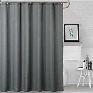 NANAN Shower Curtain for Bathroom Waterproof Waffle Woven Textured with Metal Grommets Top Fabric Shower Curtain - 72 x 72 inch, Grey