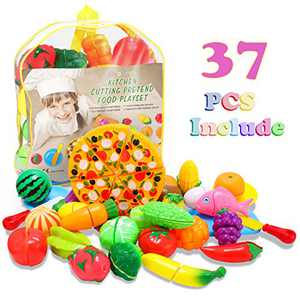 Glonova Play Food Cutting for Toddlers Kids, 37 Pcs Kitchen Toys Cutting Vegetables Fruits with Pizza Play Food Set Pretend Cutting Food Playset with Carry Bag for Children Girls Boys