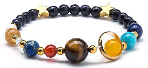 Fesciory Women Solar System Bracelet Universe Galaxy The Eight Planets Guardian Star Natural Stone Beads Bracelet Bangle for Men(Blue Sandstone(Stretch))