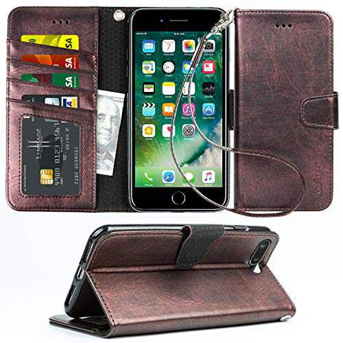 Arae Case for iPhone 7 / iPhone 8 / iPhone SE 2020, Premium PU Leather Wallet Case with Kickstand and Flip Cover for iPhone 7/8 / SE 2020 4.7 inch (Metallic)