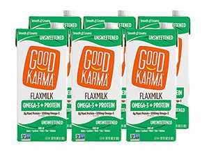Good Karma Flaxmilk +Protein, Unsweetened, 8g Plant Protein + 1200mg Omega-3 Per Serving, 32 oz Shelf-Stable Carton (Pack of 6) Dairy-Free, Plant Based Milk Alternative, Keto, Zero Sugar, Low Carb, Nut Free