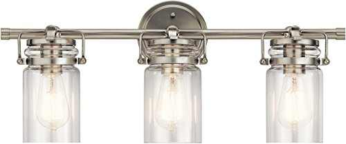 Kichler Lighting 45689NI Three Light Bath from The Brinley Collection, 3, Brushed Nickel