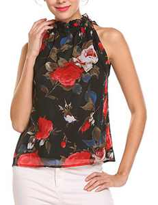 Pinspark Women Floral Sleeveless Ruffle Mock Neck Blouse Pleated Chiffon Tunic Tank Tops (X-Large, Black)