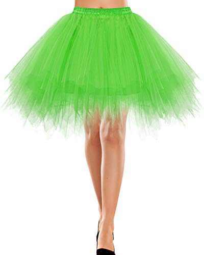 Bbonlinedress Women's Christmas Tulle Skirt 1950s Vintage Adult Ballet Tutu Skater Skirt for Evening Party Shiny Green XL