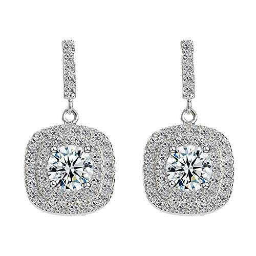 E.B.DIAMOND Crystal Drop Earrings Sterling Silver Dangle Earrings Bridal Earrings from Swarovski Elegant Cubic Zirconia Earrings for Women and Girls