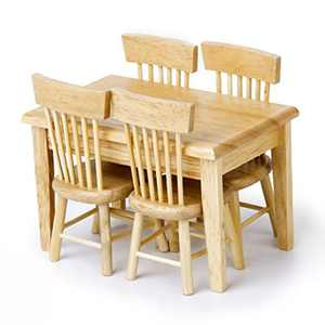 VORCOOL 5pcs 1/12 Dollhouse Miniature Dining Table Chair Wooden Furniture Set (Wood Color)