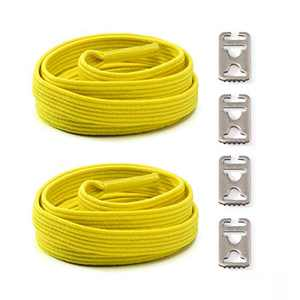Elastic No Tie Shoelaces for Kids and Adults Sport Running Lazy Shoelace for Sneakers Stainless Steel Buckle System for Laces (Fluorescent Yellow)