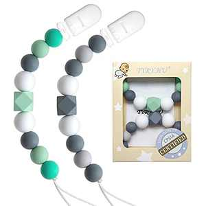 TYRY.HU Pacifier Clips Girls Baby Paci Clip Silicone Teething Beads Soothie Binky Holder Teether Toys Birthday Christmas Shower Gift (Green, Gray)