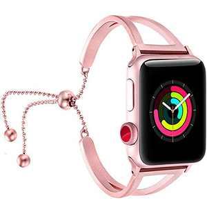 fastgoBraceletCompatibleforAppleWatchBand38mm42mmWomen, Jewelry BlingBands Cuff 40mm 44mm StainlessSteel Womens for Iwatch SE & Series 6 5 4 3 2 1(Rose Pink-42mm 44mm)