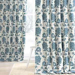 HPD Half Price Drapes PRTW-D51A-84 Printed Cotton Twill Curtain (1 Panel), 50 X 84, Duchess Blue