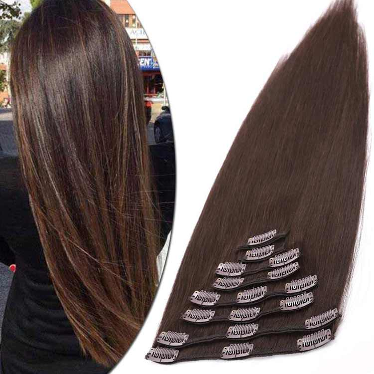 13 inch Real Human Hair Extensions Clip in 100% Remy Human Hair Full Head Silky Straight Short 8 Pieces 18 Clips Hair Extension (80g,#2 Dark Brown)