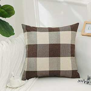 Home Brilliant Brown White Checkers Plaids Linen Europe Pillow Sham Winter Cushion Cover Throw Pillow Cases for Couch Bench Sofa, 26x26inch(66x66cm)