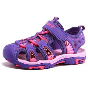 Girls' Summer Outdoor Beach Sports Closed-Toe Sandals Purple, 9.5 Toddler
