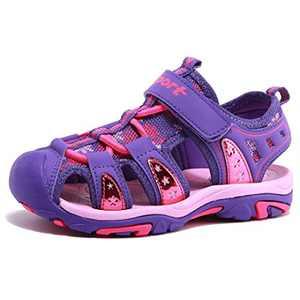 Girls' Summer Outdoor Beach Sports Closed-Toe Sandals Purple, 11.5 Little Kid
