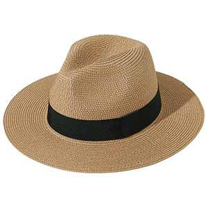 JOYEBUY Womens UPF50 Foldable Summer Straw Hat Wide Brim Fedora Sun Beach hat (Style A-Brown)