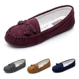 Real Fancy Moccasin Slippers for Women Flat Casual Comfortable Loafer Shoes Womens Moccasin Slippers Spring Driving Moccasins Shoes (9 B(M) US, Wine)