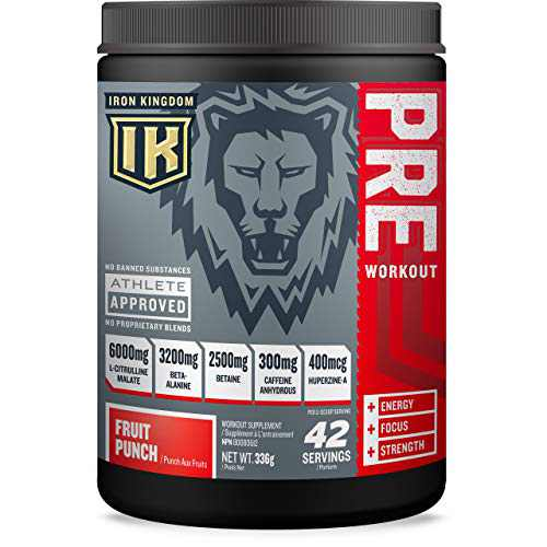 Pre Workout for Men and Women, Pre Workout Powder with Amino Acids for Energy Boost, Men and Women Pre Workout Powder with L Citrulline Malate (42 Servings) - Iron Kingdom (Fruit Punch)