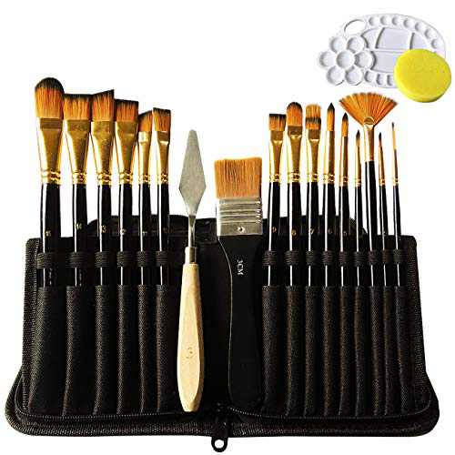 Paint Brushes 19 Pieces Set,Professional Artist Acrylic Paint Brush for Acrylic Watercolor Oil Gouache Painting by Lasten