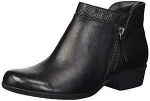 Rockport Women's Carly Bootie Ankle Boot, Black Leather, 7 M US
