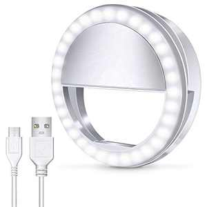 Meifigno Selfie Ring Light, [Rechargeable] with 36 LED Lights, 3-Level Adjustable Brightness Clips On Phone Ring Light Compatible with iPhone X Xr Xs 7 8 Plus 11 12 Pro Max iPad Laptop Samsung, White