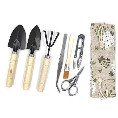 Bonsai Tool Kit, Bonsai Tree Kit Succulent Gardening Tools Set of 8 pcs Includes Pruning Shears, Mini Rake, Fold Scissors and More