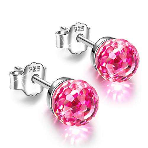 NINASUN Crystal Stud Earrings for Women Sterling Silver Studs Earring for Girl Hypoallergenic Senstive Ears Birthday Gifts for Her Mom Wife Mother Christmas Gift Valentines Mothers Day Light Rose Red