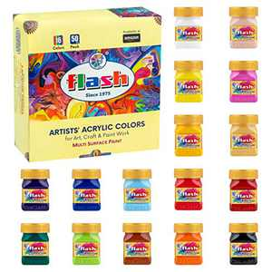 Flash Acrylic Paint Set |16 Colors | 50 ml, 1.7 fl oz Each | High Pigment Strength | Non Fading | Indoor/Outdoor | Non Toxic | Multi-Surface Paint | Pro Artist, Hobby Painters & Kid