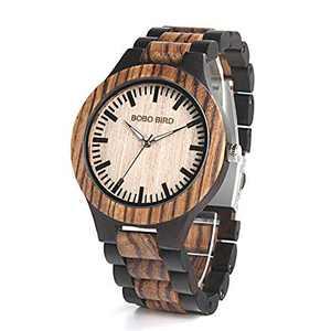 Men's Wood Watch Quartz Zebra Wooden Lightweight Vogue Wrist Watches for Men