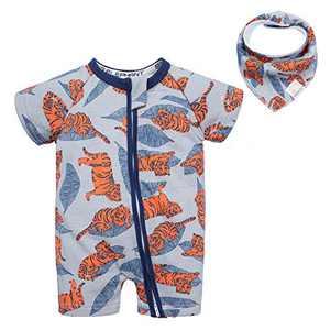 BIG ELEPHANT Baby Boys 1 Piece Short Sleeve Pajama Tiger Print Zipper Romper Q10 Tiger 12-18 Months