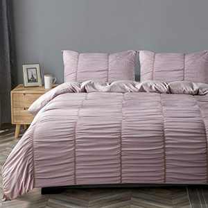 DuShow Pink Seersucker Duvet Cover Queen Textured Solid Duvet Cover Set,3 Pieces (1 Duvet Cover + 2 Pillowcases) Stripe Soft Comforter Cover Set with Zipper Closure