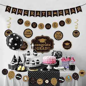 KALEFO Graduation Decorations 2021 Banner Decor Black and Gold Hanging Swirl Grad Party Supplies 2021 for College, Kindergarten Class of 2021 Decor Party Favors