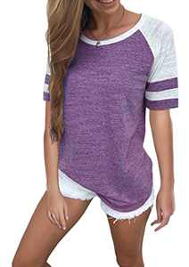 Yidarton Women's Color Block Short Sleeve T Shirt Casual Round Neck Tunic Tops(Purple,S)