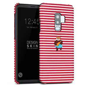 DesignSkin Galaxy S9+ Embroidered Cloth Covered Case: Thin Fit, Lightweight, Non-Slip Grip Fashion w Character Cover for Galaxy S9+ - Red Striped
