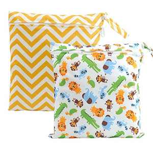 CHIC DIARY Wet Dry Bag Baby Nappy Organizer Bag Reusable Washable Cloth Diaper Bag (Yellow Waves+Animals1(2 Bags), 30cm*28cm)