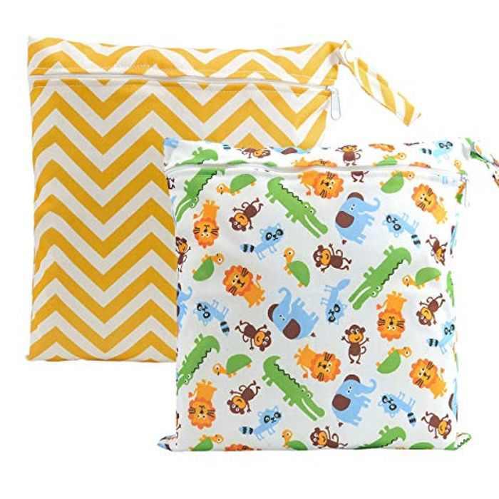CHIC DIARY Wet Dry Bag Baby Nappy Organizer Bag Reusable Washable Cloth Diaper Bag (Rainbow Waves+Animals1(2 Bags), 30cm*28cm)