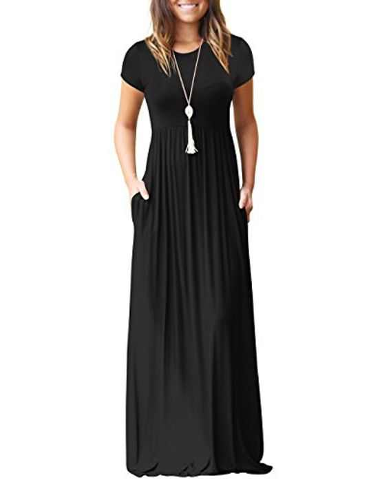shermie Women's Casual Long/Short Sleeve Plain Long Dresses Crew Neck Ladies Maxi Dress with Pockets