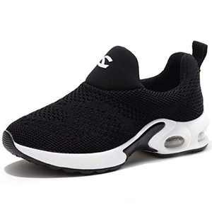 Kids Boys Girls Running Shoes Comfortable Fashion Light Weight Slip on Cushion Black, 12.5 Little Kid