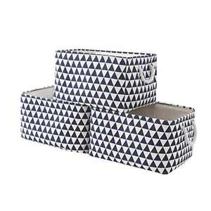 TcaFmac Large Fabric Storage Basket Set[3-Pack]Decorative Collapsible Canvas Storage Bin Containers with Rope Handles Empty Gifts Baskets for Shelves,Baby Basket