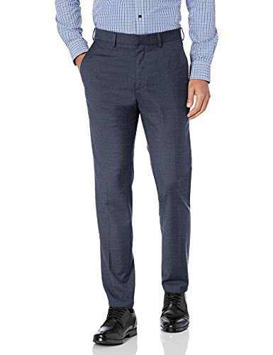 Kenneth Cole REACTION Men's Premium Stretch Texture Weave Slim Fit Dress Pant, Medium Blue, 36Wx29L