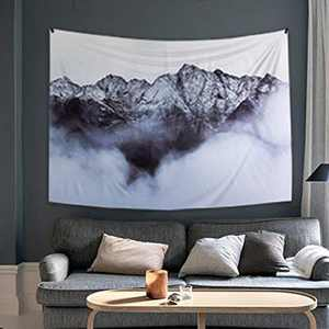 Ofat Home Snow Mountain Tapestry Wall Hanging, Fabric Wall Modern Nordic Style Art Photo Poster Wall Tapestry for Bedroom 59x78.7 Inch, Grey Black White