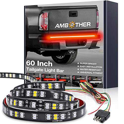 AMBOTHER 60-Inch Tailgate Light Bar Double Row Waterproof Light Strip Running Turn Signal Brake Reverse Tail Lights No Drill Install for Pickup Trucks Trailer Car RV Van, Red White