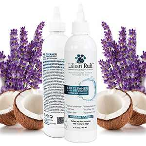 Lillian Ruff Ear Cleaner & Otic Wax Solvent for Dogs with Tea Tree Oil, Bee Propolis & Aloe - Coconut and Lavender Scent - Dissolve Wax and Combat Ear Odors - Safe for Sensitive Ears (4oz)