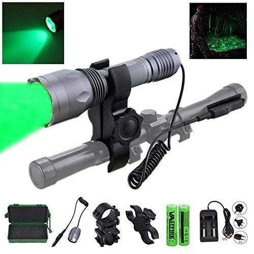 VASTFIRE 350 Yard CREE LED Green Flashlight Kit Hog Coyote Varmints Predator Long Range Night Hunting Light (Flashlight + Dual Pressure Switch + 2 X 18650 Batteries + Charger + Barrel + Scope Mounts)…