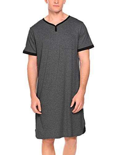 Ekouaer Mens Long Sleep Shirt Short Sleeve Nightshirt Nigt Shirt,A-dark Grey,XX-Large