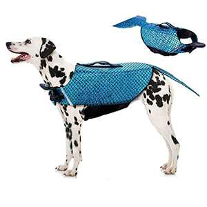 Rozkitch Dog Life Jacket Medium, Dog Life Vest for Swimming Boating, Mermaid Dog Life Jacket with Handle Ripstop Adjustable Floatation Pet Outfit Preserver Lifesaver for Doggy at Pool Beach